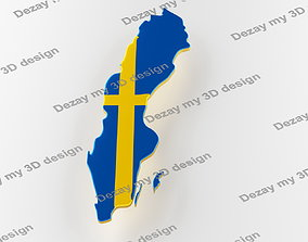 3D Map of Sweden land border with flag country