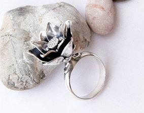 Lotus flower ring printable jewelry model