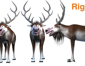 cartoon snow deer Low-poly 3D model rigged rigged