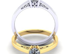 3D printable model Beautiful single stone ring 4 6mm