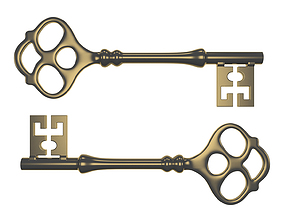 Old Steampunk Key Victorian style prop highpoly 3D model