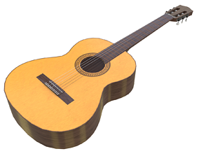 Game-ready Classical Guitar 3D model