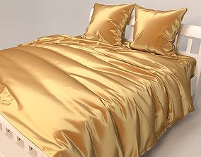 3D model gold Gold Satin Bedding Set