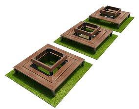 3D model Three Circling Benches