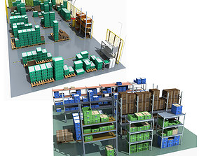 3D Collection of Storage Rack boxes