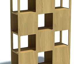 Light Wood Block Shelf 3D
