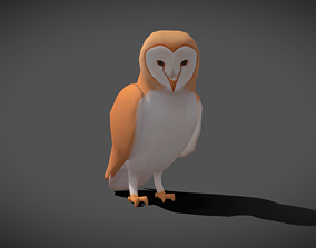 Low poly Barn Owl - Idle Animated 3D model