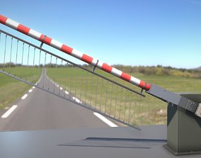 3D asset Low-Poly Railroad Barrier 3m Protective Grid