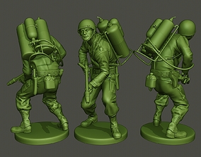 3D print model American soldier ww2 action A6