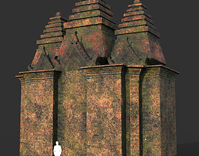 Low poly Mossy Brick Ruin Asia Temple 04 3D model