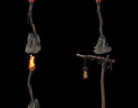 3D Fantasy torches kit with PBR V-ray render setup