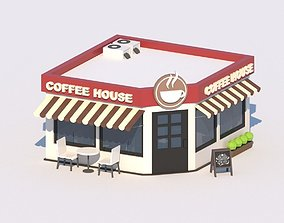 Cartoon Low Poly Coffee House Cafe Building 3D model