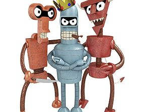 3D model Robots Bender Roberto and Robo devil from