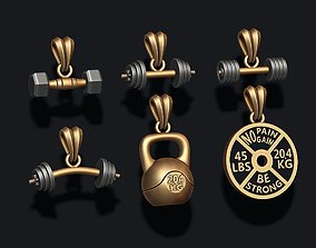 3D printable model barbell pendant pack