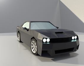 Dodge challenger low poly 3D model game-ready