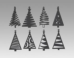 3D model Christmas tree toy set