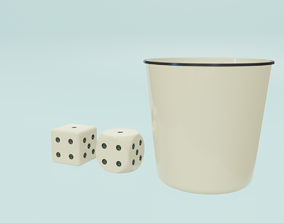 Low Poly Square and Round White Dice 3D low-poly