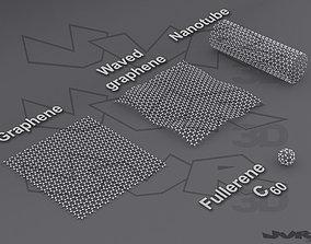 3D model Carbon structures Graphene nanotube and fullerene