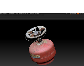3D scanned gas bottle high realistic texture low-poly