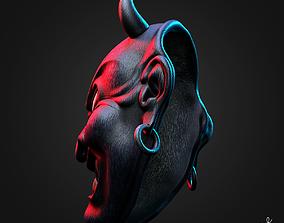 3D asset Old Japanese Hannya Demon Dark Mask