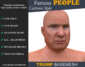 Low poly Character Cartoon Basemesh - Donald 3D asset