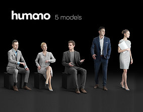 Humano 5-Pack - OFFICE - WORKING PEOPLE - 5x 3D models 1