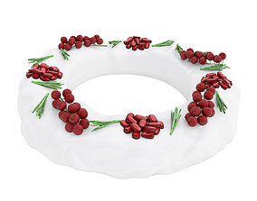 3D model Pomegranate red currant ring shaped cake