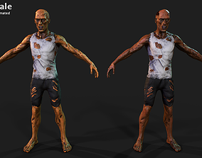 Zombie 3D asset animated low-poly