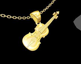 Violin pendant jewelry gold necklace 3D print model