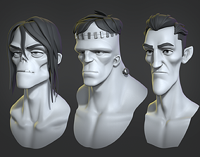frankenstein 3D Cartoon monsters base mesh