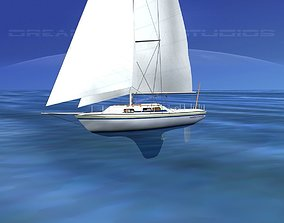 3D model 30 Foot Cutter Rigged Sloop V02