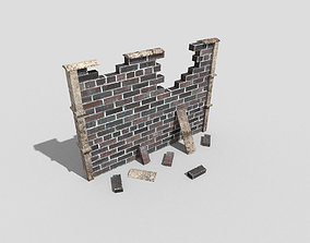 3D model low-poly low poly broken wall