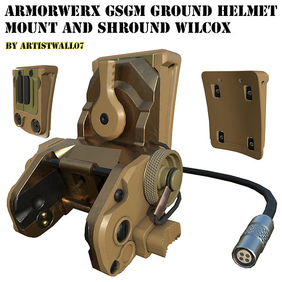 Armorwerx GSGM Night Vision Helmet Mount and shroud Wilcox Low Poly PBR 3D model
