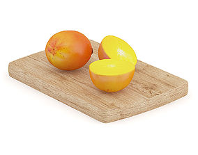 3D model Persimmon Fruits on Wooden Board