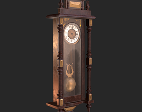 Old Antique Wall Clock PBR 3D asset