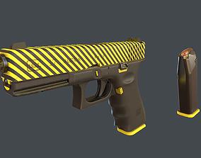 3D model Yellow Glock 17 with magazine