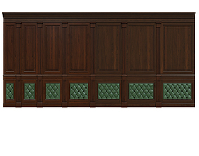 Wood panel with leather 016 3D model