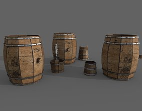 Barrel 3D asset low-poly keg