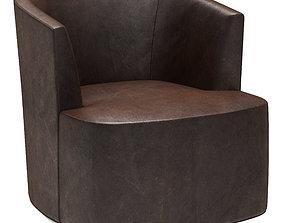 3D Restoration Hardware Arden Leather Swivel Chair