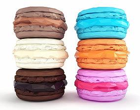 Macarons Low Poly 3D asset