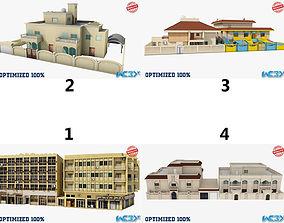 3D asset Four Buildings Set