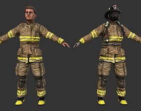3D asset Firefighter Character Fireman Game Ready