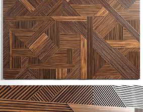 architectural 3D model Wooden panels 3