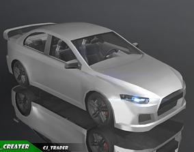 VR / AR ready PBR Lowpoly Misano Audi Car 3D Model