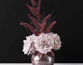 3D Bouquet of dahlias in a vase