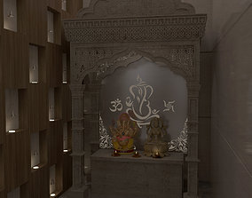 3D Very beautiful Home temple with lord Ganesha and Devi 1