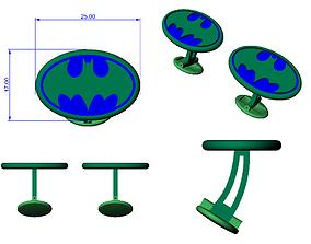 CUFFLINK-4 - Batman Logo - Enamel 3D printable model