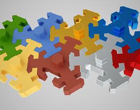 Hexagon jigsaw Toy 3D print model