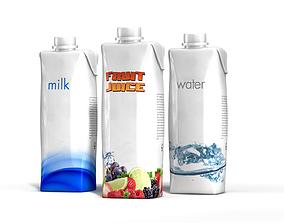 3D model Set of 3 high quality Tetra Pak beverage cartons