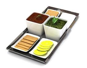 Food Serving Tray With Dishware 3D model